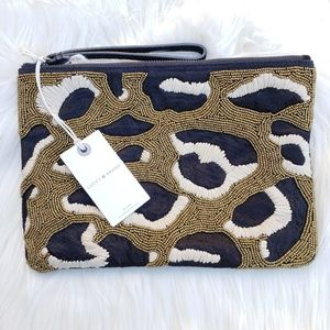 NWT Lucky Brand Beaded Cheetah Pouch Wristlet